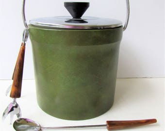 Mid Century Barware - Faux Green Leather Ice Bucket with Faux Tortoise Utencils - Ice Tongs - Spoon - Ice Bucket with Lid -