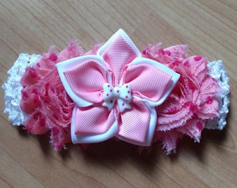 Kanzashi Headband, Flower Headband, Pink Headband, Baby Girl Headband, Baby Hair Accessory, Baby Girl Headband, Pink and White Headband