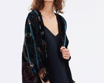 Sofia Hand Beaded Short Kimono
