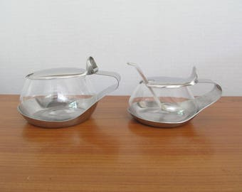 Large Vintage WMF Cromargan Germany Stainless Steel and Glass Sugar Bowl