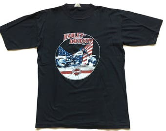 80s Harley Davidson Motorcycles Single Stitch t shirt vintage Harley Davidson tee size XL 3d emblem hog t USA MADE