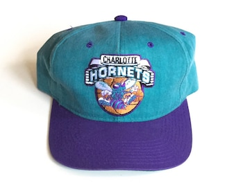 90s STARTER Charlotte Hornets NBA Basketball 90s Vintage Snapback Strapback hat Adjustable strap back Cap One Size Fits All starter hat