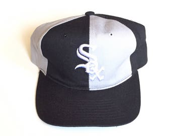 90s STARTER Chicago White Sox MLB Baseball 90s Vintage pinwheel Snapback Strapback hat Adjustable strap back One Size Fits All wool hat gray