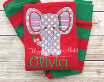 Elephant Plaid Dots Christmas Pajamas monogrammed personalized matching family pictures card Santa Babys First stripes red green pink gray