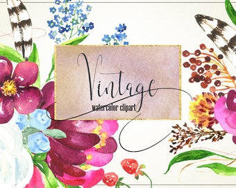 Vintage forest watercolor clipart. Forest animals. Wedding invitations. Dahlias and roses. Deer illustration.