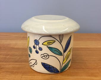 Handmade French Butter Crock in Vine & Blossom Deco. Glazed in Clear and Lavender. MA19