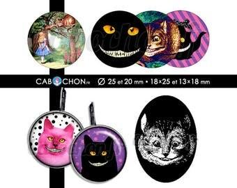 The Cheshire Cat • 60 Images Digitales RONDES 25 et 20 mm OVALES 18x25 et 13x18 mm page cabochon bijoux alice wonderland chat cheshire