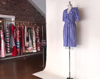 Lady Di Dress | vintage 1980s blue & white striped day dress