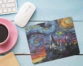 Harry Potter Hogwarts Mouse Pad, Starry Night Castle Mouse Pad, Office Desk Accessories, Custom Personalized Mouse Pad, Office Supplies