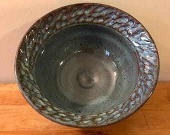 Blue Carved Rim Small Bowl