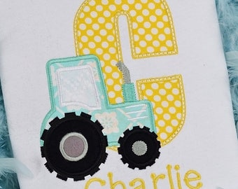 Personalized Tractor Initial or Number Tee