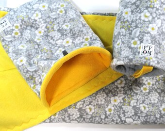 2 x 4 c & c  fleece cage liner set - yellow and gray floral print - matching snuggle sack and tunnel included - 28 x 56  - READY TO SHIP