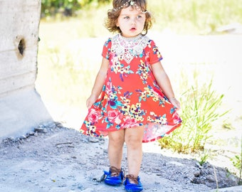 Red Coral Floral Twirl Dress with high low hem for baby and toddler girls sizes newborn to 5/6T