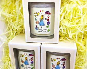 Alice in Wonderland inspired candle
