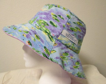 "Bucket Hat 22"" medium reversible Waterlillies with purple"
