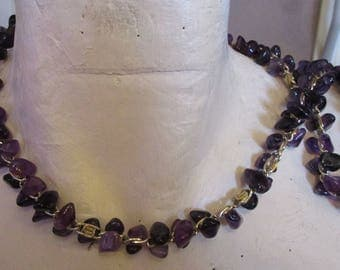 """vintage 28""""long goldtone chain necklace with masses of purple glass stones extends 3"""""""