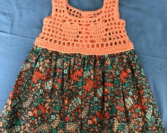 Peaches and Fall Bouquet Crochet Summer Dress - Size 18 mo