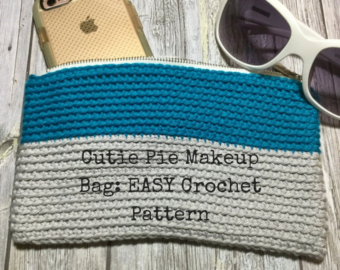 Easy Makeup Bag Crochet Pattern for Beginners, Cutie Pie Makeup Bag Pattern, Accessories Pouch Crochet Pattern, Crochet Hook Pattern