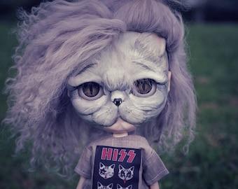 SALE - Pringles -  Custom Blythe animal / cat by SplatterGirlUK - Layaway available