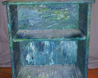 Bookcase, night table, nightstand, abstract, hand painted, green and blue multi colored rain splashed look, philadelphia
