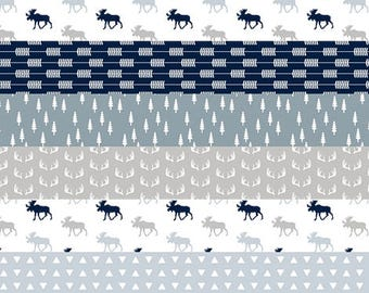 Woodland Baby Quilt, Rustic Baby Blanket, Minky Baby Blanket, Baby Boy Quilt, Baby Bedding, Crib Quilt, Baby Boy Blanket, Moose Navy Gray