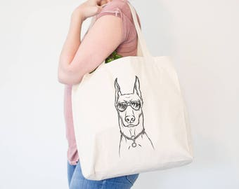 Ace Doberman Pinscher Dog Canvas Tote Bag