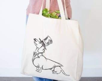 George Dapper Dachshund Tote Bag - Gifts For Dog Owner, Dachshund Lover, Wiener Dog Art, Dachshund Bag, Doxie Bag, Wiener Dog Bag