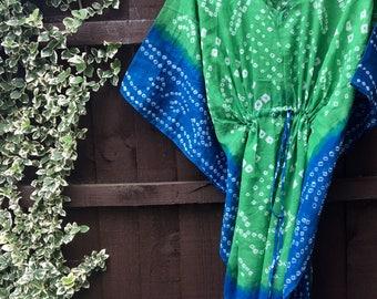 Cotton kaftan • Blue and green cotton kaftan • kaftan • holidaywear • cotton kaftan • bandhani • caftan