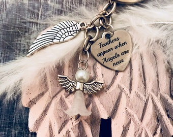 Angel Keyring Gift/ Memorial Feathers Appear When Angels Are Near