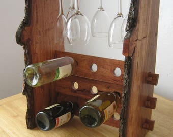 Table top! Wine Rack made with Live Edged Ponderosa Pine!