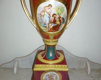 Antique large AUSTRIAN SEVRES porcelain polychrome neoclassical scenes vase circa 1880s