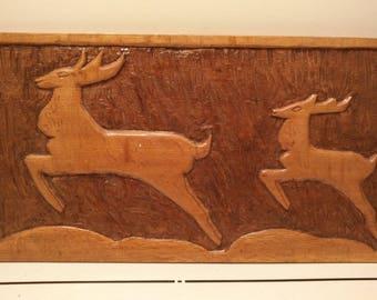 Art Deco antelopes wood carving wall plaque circa 1930s