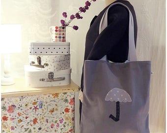 Tote bag canvas gray iridescent umbrella