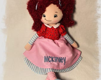 Personalized Embroidered Raspberry Hair Rag Doll