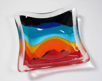 Candle Holder, Glass Bowl, Sunset Colors and Design, Art for Home, Decorative Fused Glass
