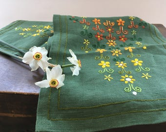 Embroidered table runner Green yellow orange brown Floral runner Mid Century floral runner