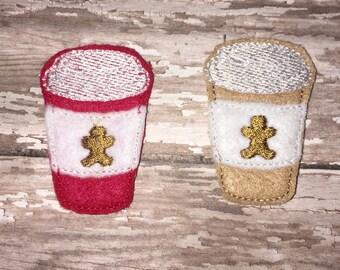Set of 4 Gingerbread Latte Felties Christmas Winter  Coffee Cup To Go Cocoa Glitter Feltie Felt Embellishment Bow! Felties Planner Clip