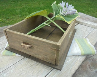 Primitive Storage Box, Rustic Wood Bin with Handles, Vintage Box Restored with a New Bottom and Handles, Upcycled Storage and Organization