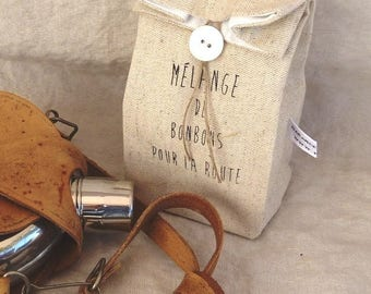 Linen pouch for small travel sweets, vintage style print.
