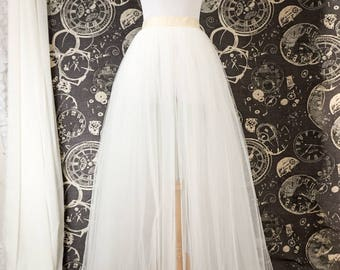 Ivory Tulle Over Skirt - Adult Full Length Tutu, Wedding Skirt Overlay with Ribbon Waist - Custom Made to Your Measurements