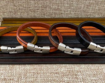 Mens Leather Bracelet,  9mm Flat Leather Quality Cord In 4 Colors, Interlocking Secure Metal Clasp, Valentines's Day Gift JLA-54