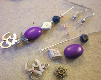 Set of EARRINGS Unique EARRINGS * serene, tranquil Howlite * purple flower