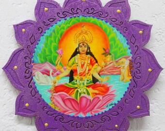 Lakshmi, Hindu Goddess Lakshmi, Goddess of wealth and prosperity, lotus plaque, wood lotus, Lakshmi wall hanging, hindu wall decor