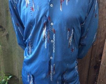 Mens Vintage  Mod Disco Polyester Shirt Size XL JC Penny Blue Geometric