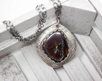 Boulder Opal Fine Silver Necklace - GD320