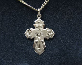 Nice 4 Way Catholic Medal in Sterling Silver Pendant Necklace
