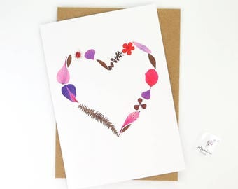 Printed floral card, pink flower heart greeting card