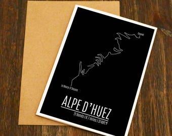 Alpe D'huez Famous Climbs Cycling Art Card - Bike Art - Cycling Birthday Card - Cyclist - Blank