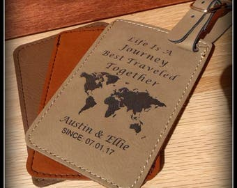Luggage Tag Life Is A Journey Mr and Mrs Leather Vegan Personalized Bride & Groom Wedding Gift Honeymoon Travel Tag With/O Message Card