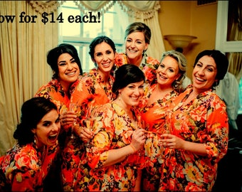 Bridesmaid robes, Set of 7,bridesmaids gift,bridal shower gift,bridal party gift,wedding gift,bridal party robe, kimono robe, Floral